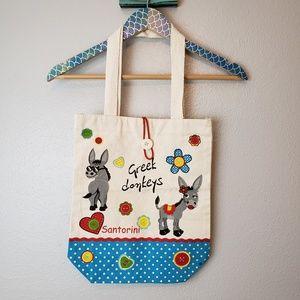 Handbags - Greek Tourist Canvas Tote Bag Donkeys Santorini